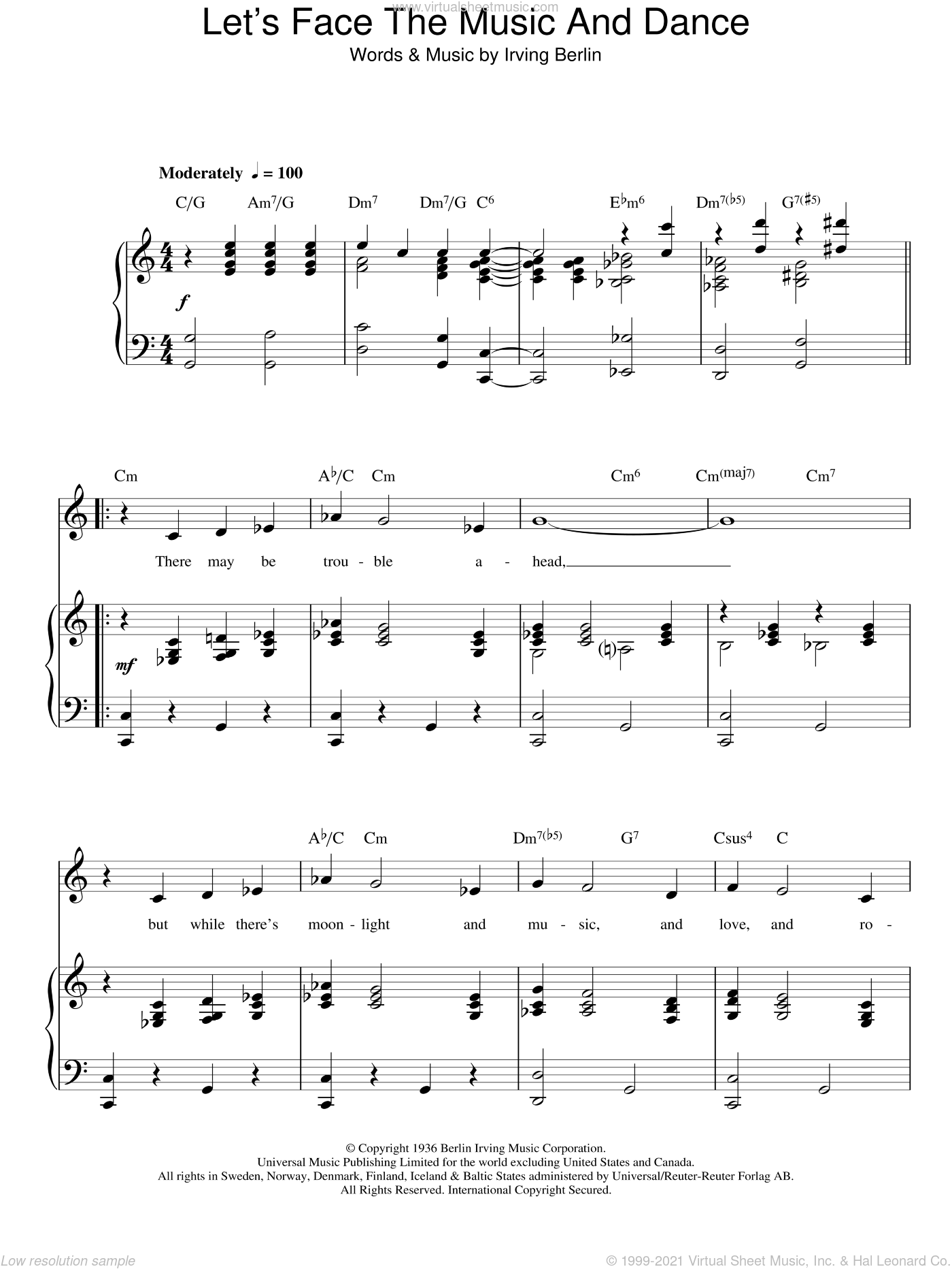Let's Face The Music And Dance sheet music for voice, piano or guitar by Irving Berlin. Score Image Preview.