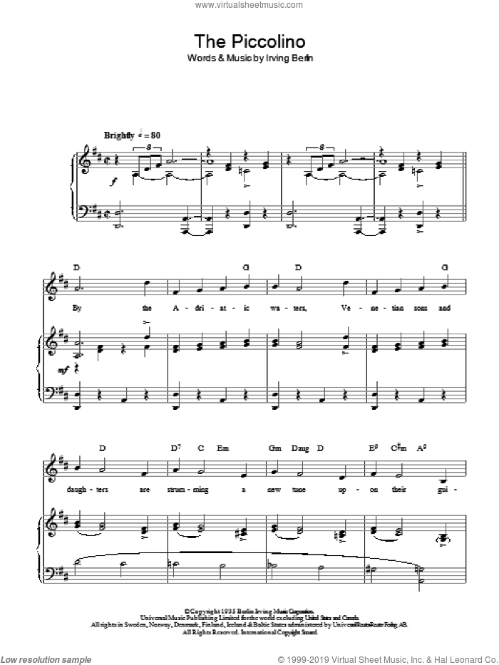 The Piccolino sheet music for voice, piano or guitar by Irving Berlin. Score Image Preview.