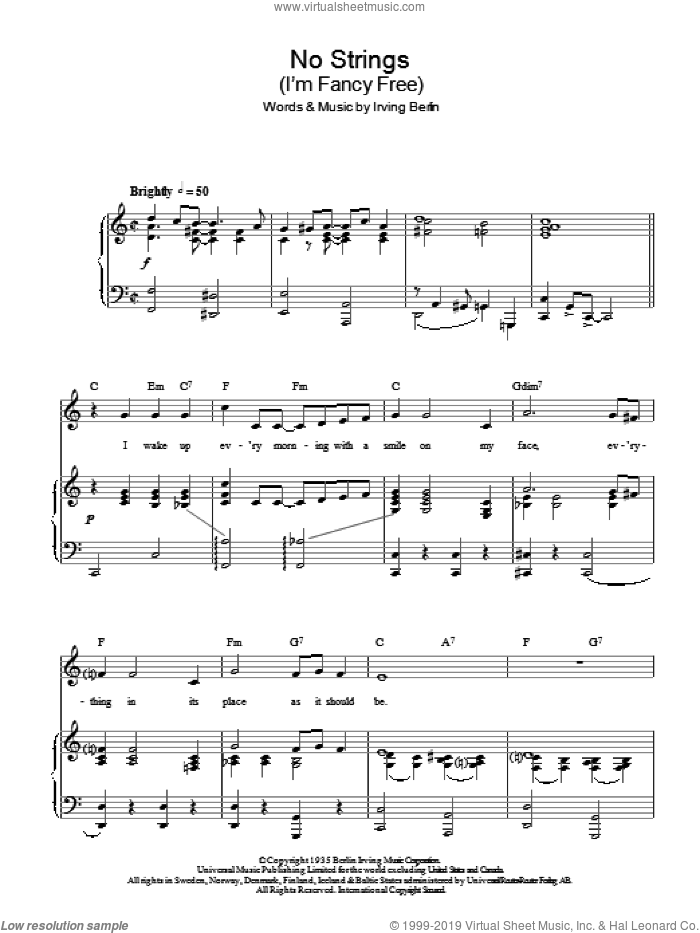 No Strings (I'm Fancy Free) sheet music for voice, piano or guitar by Top Hat Cast and Irving Berlin, intermediate voice, piano or guitar. Score Image Preview.