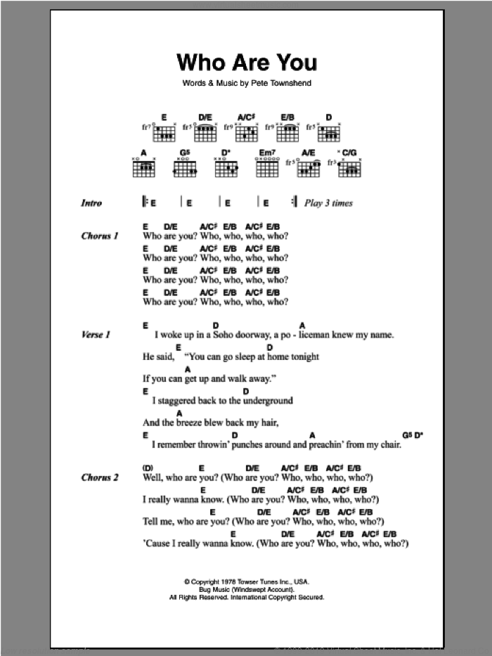 Who Are You? sheet music for guitar (chords) by The Who and Pete Townshend, intermediate skill level