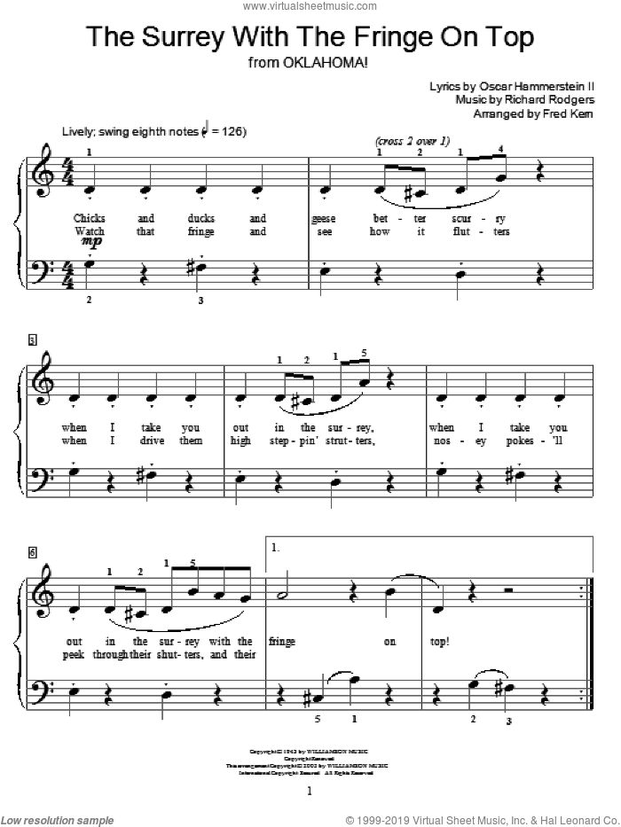 The Surrey With The Fringe On Top sheet music for piano solo (elementary) by Rodgers & Hammerstein, Miscellaneous, Oscar II Hammerstein and Richard Rodgers, beginner piano (elementary). Score Image Preview.
