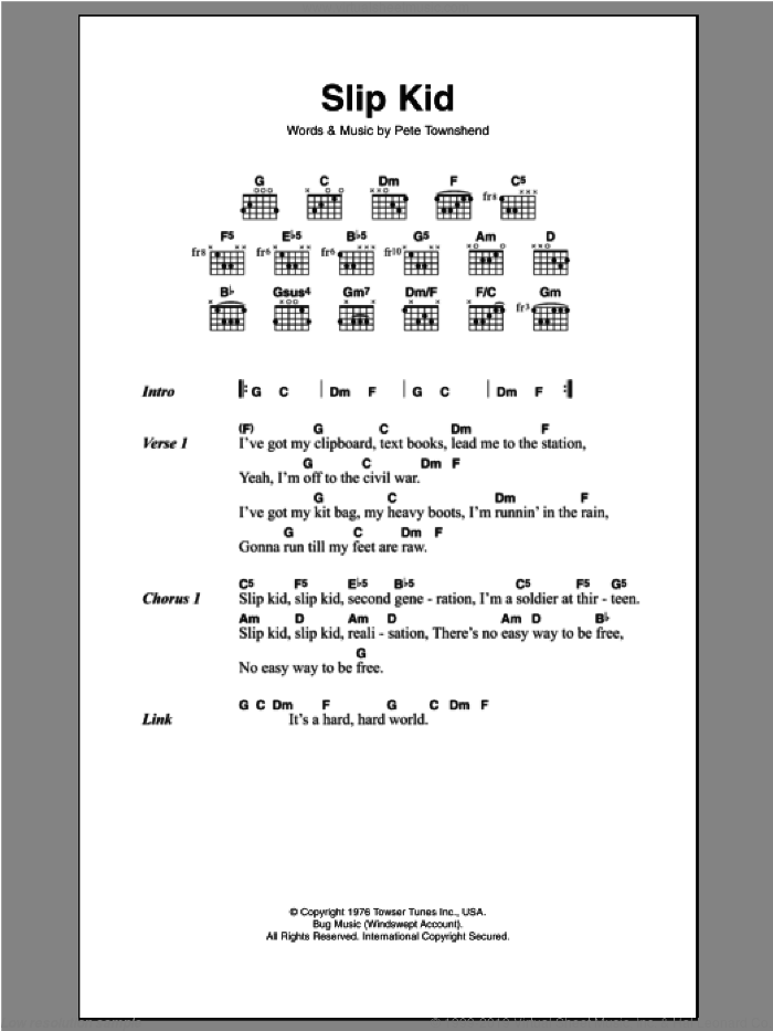 Slip Kid sheet music for guitar (chords) by Pete Townshend and The Who. Score Image Preview.