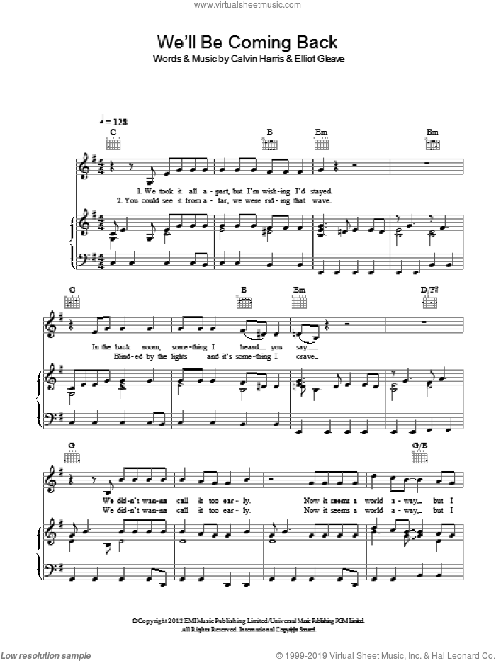 We'll Be Coming Back sheet music for voice, piano or guitar by Calvin Harris featuring Example, Calvin Harris and Elliot Gleave, intermediate skill level