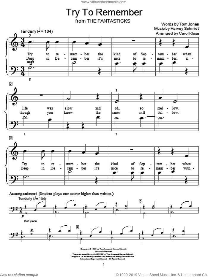 Try To Remember sheet music for piano solo (elementary) by Harvey Schmidt, Carol Klose, Miscellaneous, The Fantasticks (Musical) and Tom Jones, beginner piano (elementary)