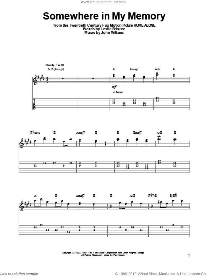 Somewhere In My Memory sheet music for guitar (tablature, play-along) by John Williams and Leslie Bricusse. Score Image Preview.