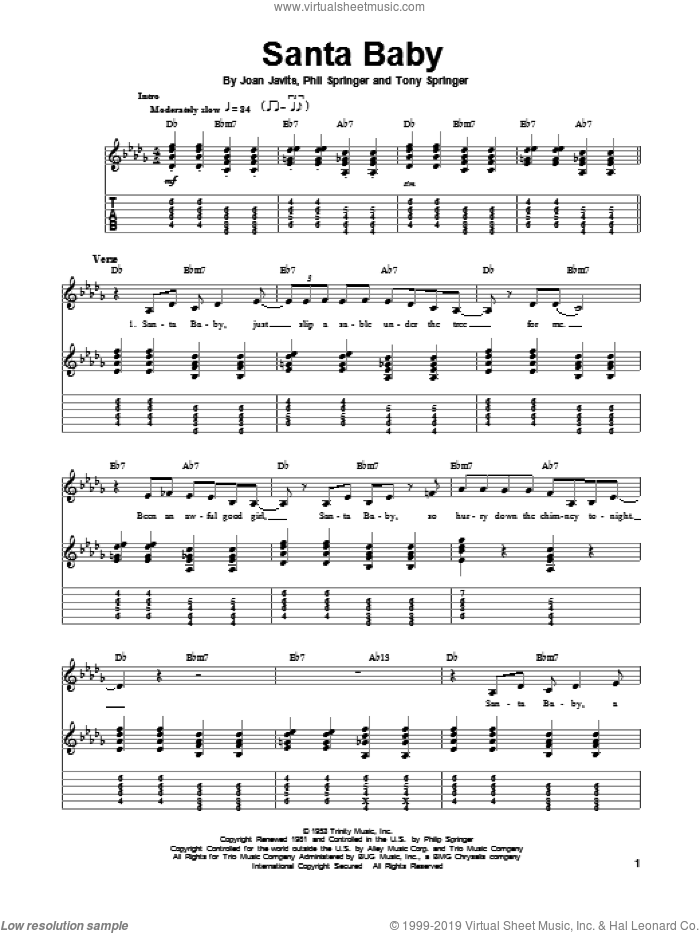 Santa Baby sheet music for guitar (tablature, play-along) by Eartha Kitt, Joan Javits, Phil Springer and Tony Springer, intermediate skill level