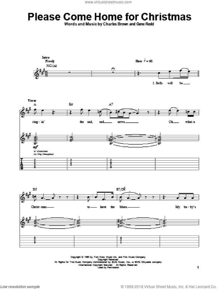 Please Come Home For Christmas sheet music for guitar (tablature, play-along) by Gene Redd and Charles Brown. Score Image Preview.