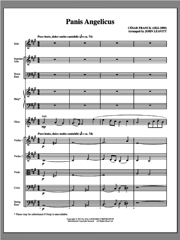 Panis Angelicus (complete set of parts) sheet music for orchestra/band (chamber ensemble) by Cesar Franck and John Leavitt, intermediate skill level