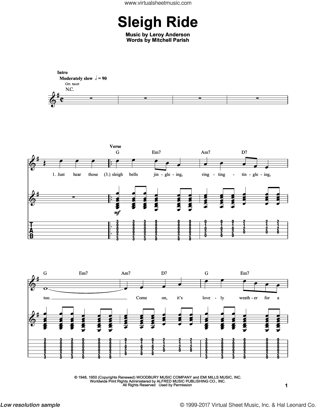 Sleigh Ride sheet music for guitar solo (easy tablature) by Mitchell Parish and Leroy Anderson, easy guitar (easy tablature). Score Image Preview.