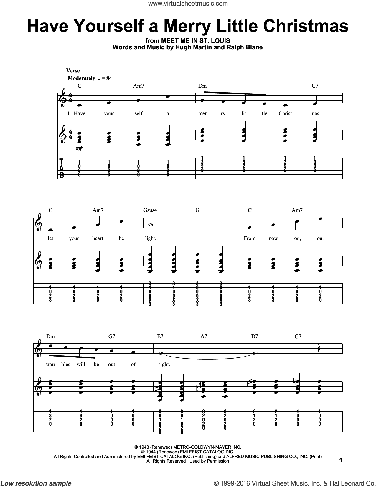 Have Yourself A Merry Little Christmas sheet music for guitar (tablature, play-along) by Ralph Blane