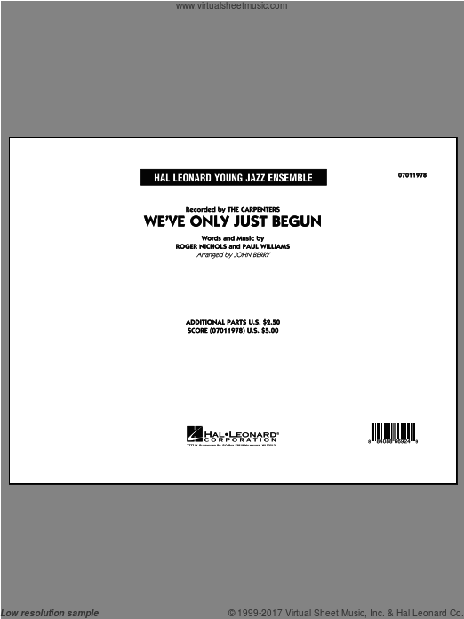 We've Only Just Begun (COMPLETE) sheet music for jazz band by Paul Williams