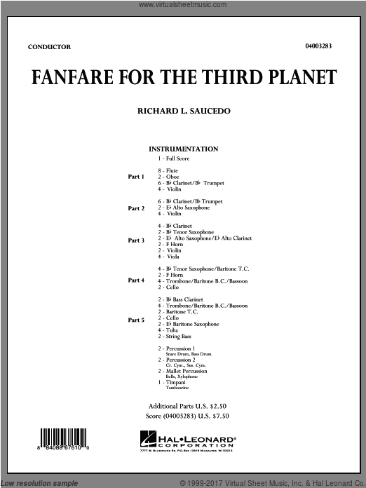 Fanfare For The Third Planet (COMPLETE) sheet music for concert band by Richard L. Saucedo