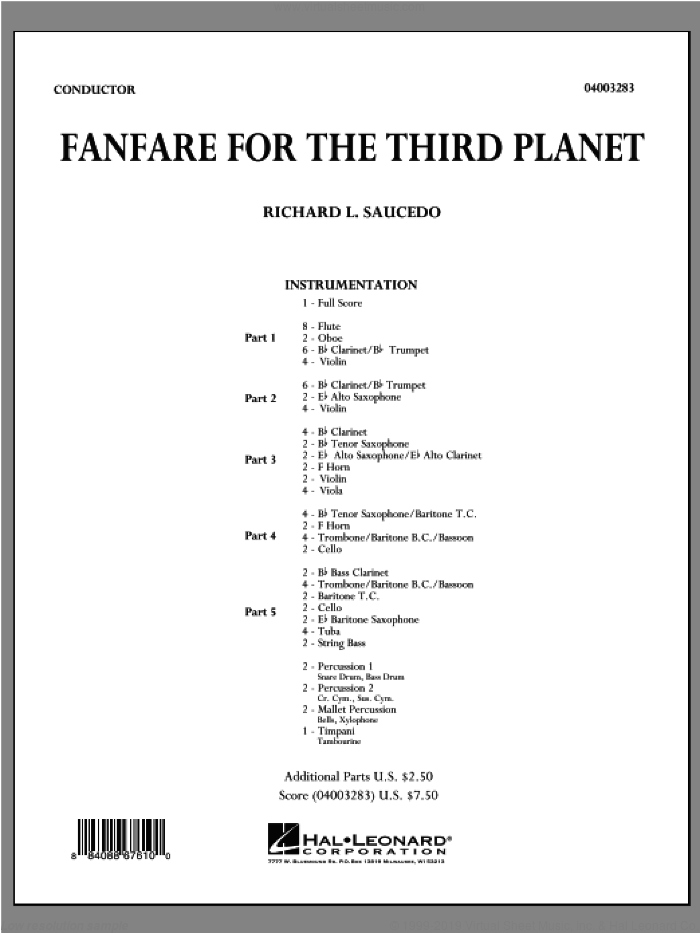 Fanfare For The Third Planet (COMPLETE) sheet music for concert band by Richard L. Saucedo, intermediate. Score Image Preview.