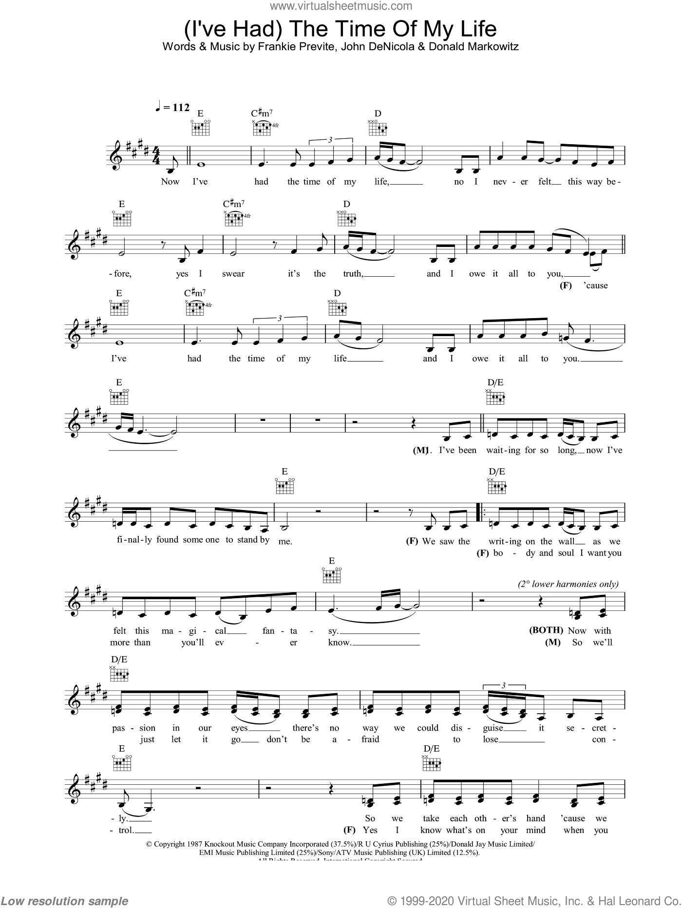 (I've Had) The Time Of My Life sheet music for voice and other instruments (fake book) by John DeNicola and Donald Markowitz. Score Image Preview.