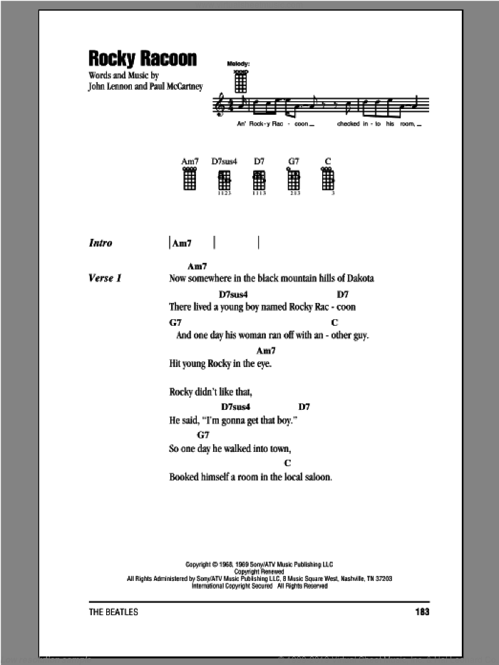 Rocky Raccoon sheet music for ukulele (chords) by The Beatles, John Lennon and Paul McCartney. Score Image Preview.