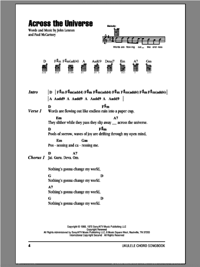 Across The Universe sheet music for ukulele (chords) by The Beatles, John Lennon and Paul McCartney, intermediate ukulele (chords). Score Image Preview.