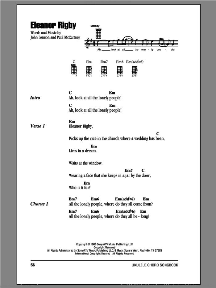 Eleanor Rigby sheet music for ukulele (chords) by The Beatles, John Lennon and Paul McCartney, intermediate skill level