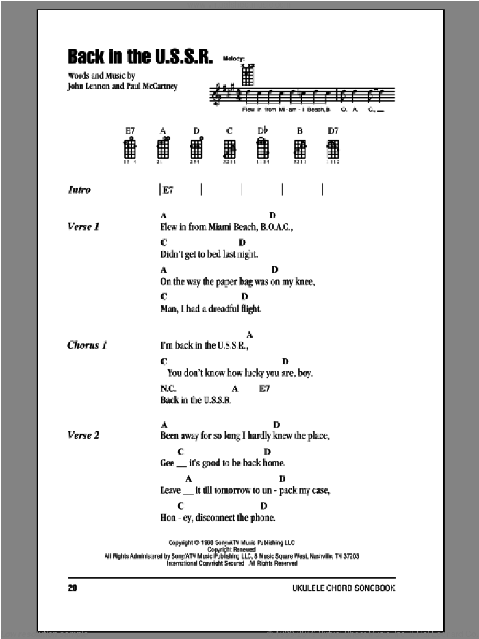 Back In The U.S.S.R. sheet music for ukulele (chords) by The Beatles, Chubby Checker, John Lennon and Paul McCartney, intermediate. Score Image Preview.