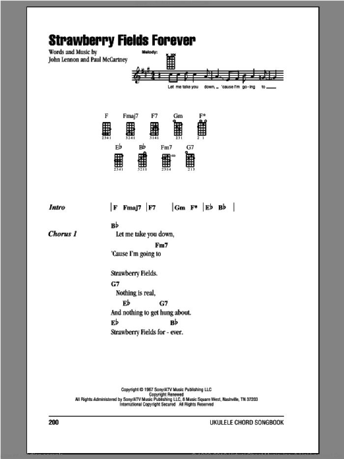 Strawberry Fields Forever sheet music for ukulele (chords) by The Beatles, John Lennon and Paul McCartney, intermediate. Score Image Preview.