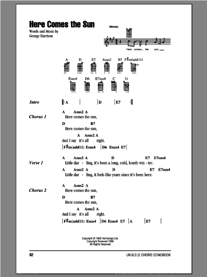 Here Comes The Sun sheet music for ukulele (chords) by George Harrison and The Beatles. Score Image Preview.