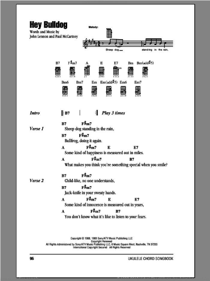 Beatles Hey Bulldog Sheet Music For Ukulele Chords Pdf