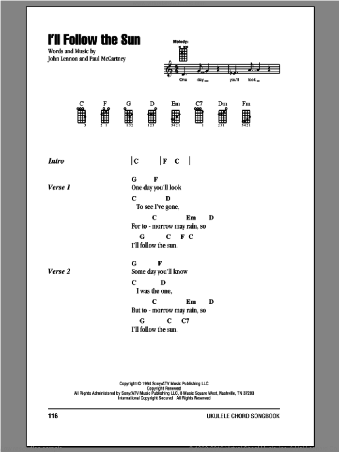 I'll Follow The Sun sheet music for ukulele (chords) by Paul McCartney, John Lennon and The Beatles. Score Image Preview.