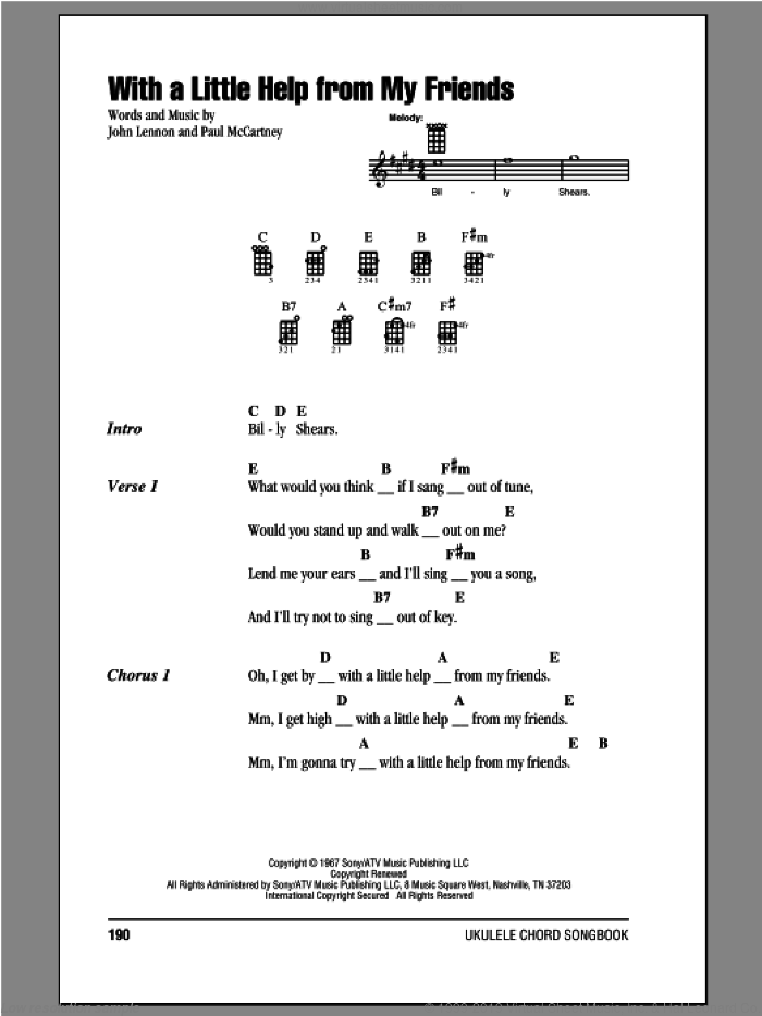 With A Little Help From My Friends sheet music for ukulele (chords) by The Beatles, John Lennon and Paul McCartney, intermediate. Score Image Preview.