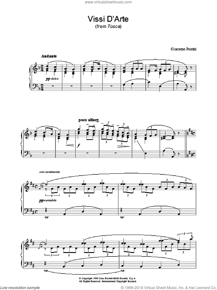 Vissi D'Arte (from Tosca) sheet music for piano solo by Luigi Illica and Giacomo Puccini. Score Image Preview.