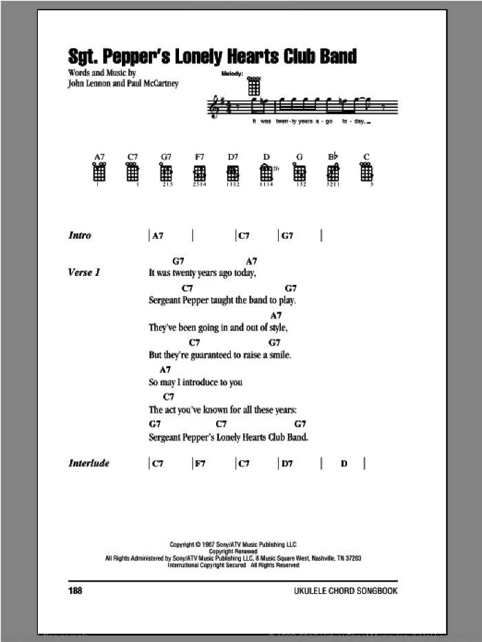 Sgt. Pepper's Lonely Hearts Club Band sheet music for ukulele (chords) by Paul McCartney, John Lennon and The Beatles. Score Image Preview.