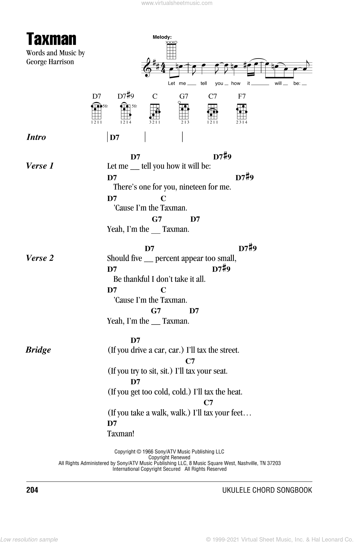Taxman sheet music for ukulele (chords) by The Beatles and George Harrison, intermediate skill level
