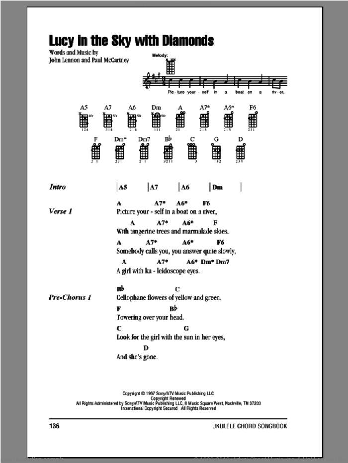 Lucy In The Sky With Diamonds sheet music for ukulele (chords) by The Beatles, John Lennon and Paul McCartney, intermediate skill level