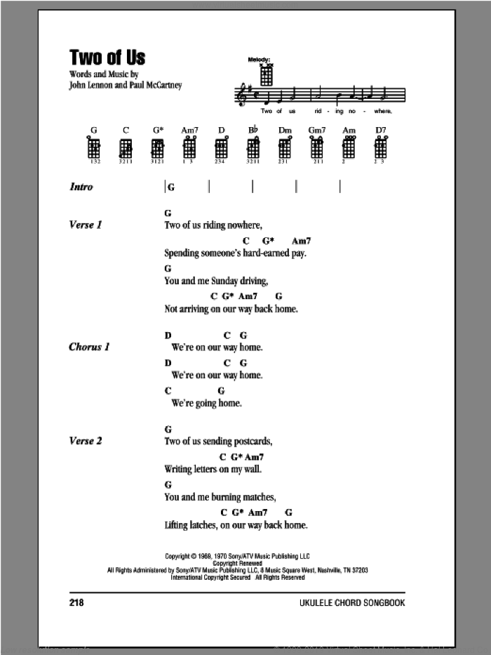 Two Of Us sheet music for ukulele (chords) by John Lennon and The Beatles. Score Image Preview.