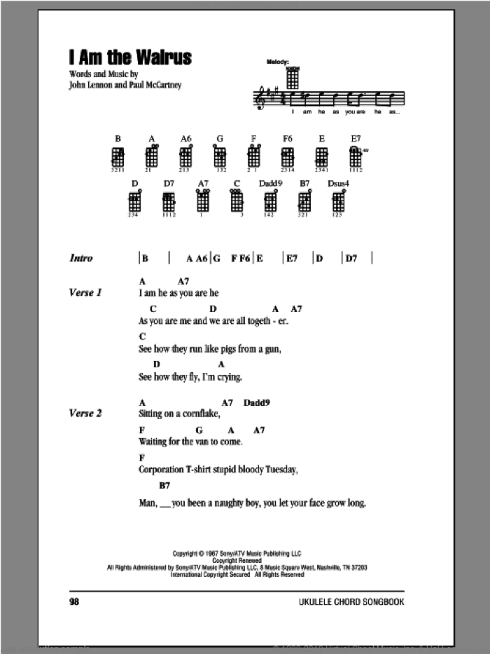 I Am The Walrus sheet music for ukulele (chords) by The Beatles, John Lennon and Paul McCartney, intermediate. Score Image Preview.