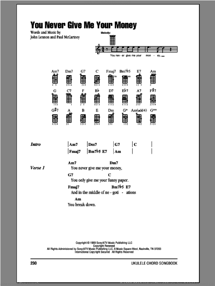 You Never Give Me Your Money sheet music for ukulele (chords) by The Beatles, John Lennon and Paul McCartney, intermediate. Score Image Preview.