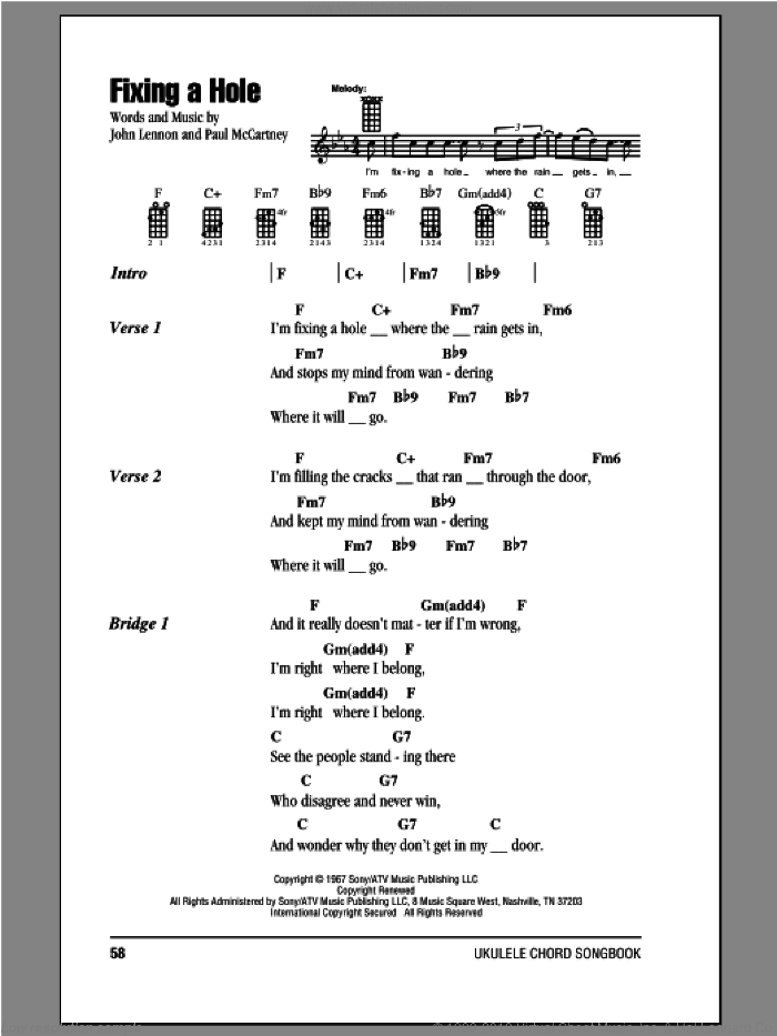 Beatles Fixing A Hole Sheet Music For Ukulele Chords Pdf