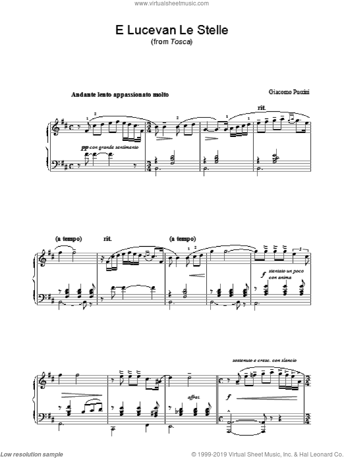 E Lucevan Le Stelle (from Tosca) sheet music for piano solo by Luigi Illica and Giacomo Puccini. Score Image Preview.
