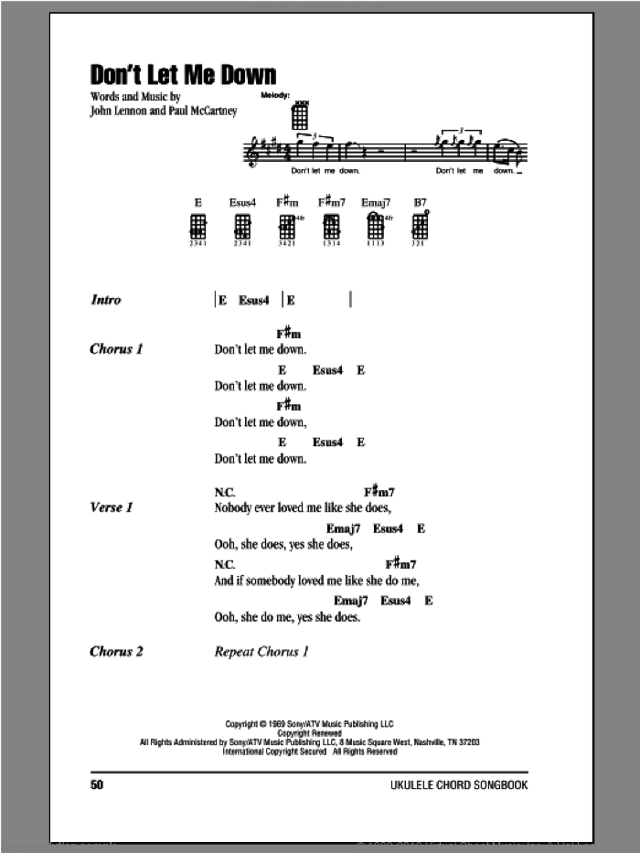 Don't Let Me Down sheet music for ukulele (chords) by Paul McCartney, John Lennon and The Beatles. Score Image Preview.