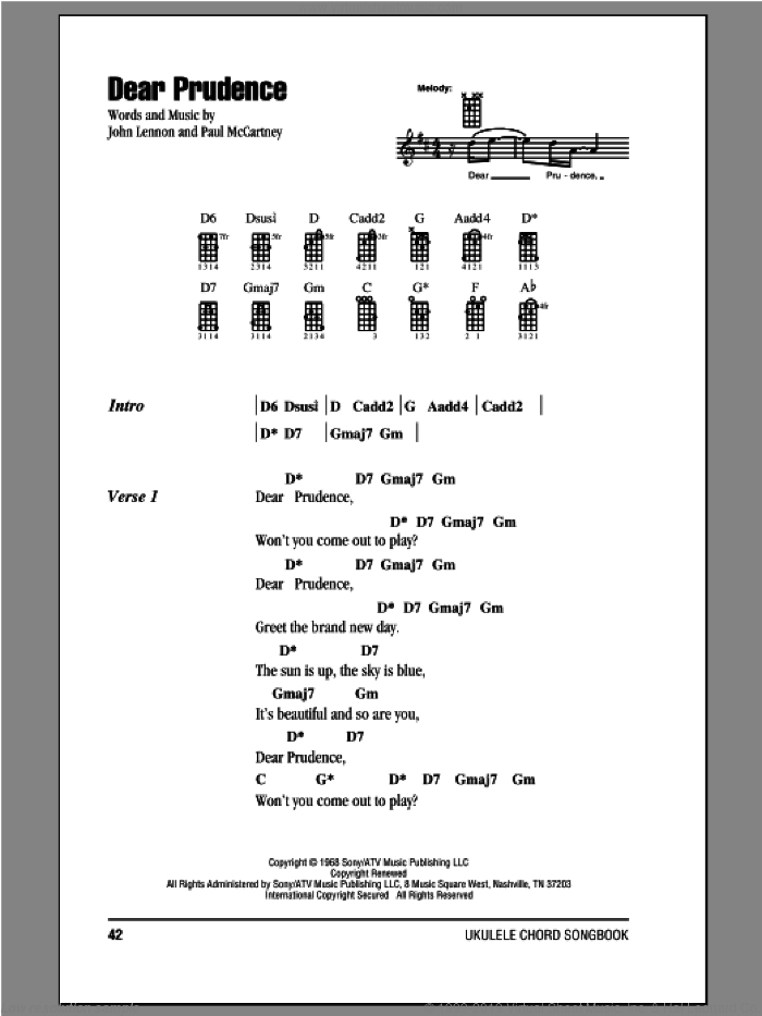 Dear Prudence sheet music for ukulele (chords) by The Beatles, John Lennon and Paul McCartney, intermediate. Score Image Preview.