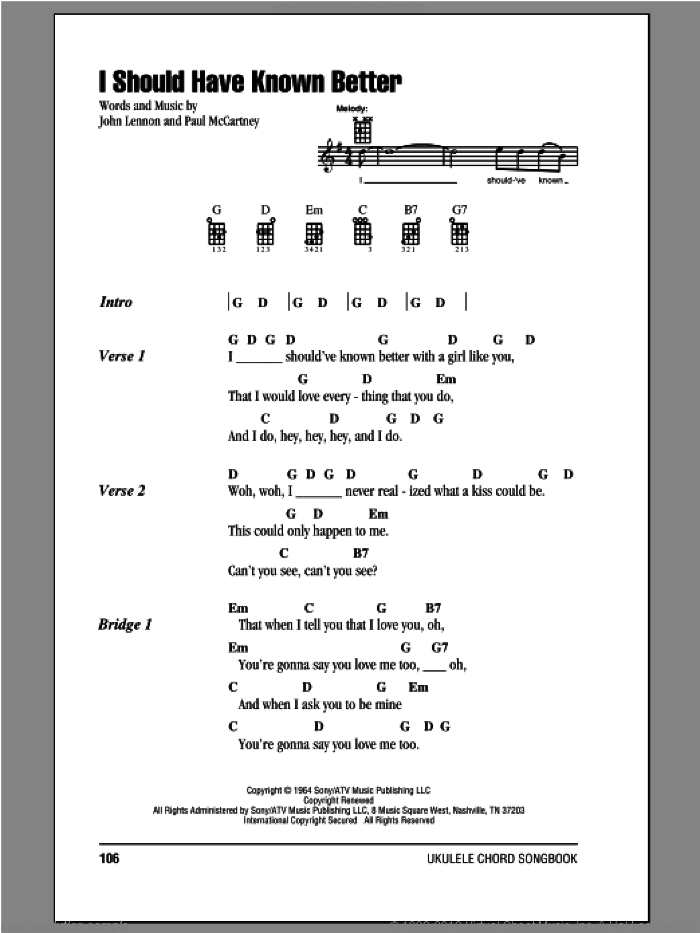 I Should Have Known Better sheet music for ukulele (chords) by Paul McCartney, John Lennon and The Beatles. Score Image Preview.
