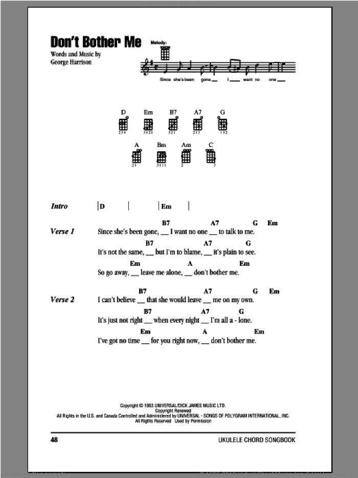 Don't Bother Me sheet music for ukulele (chords) by The Beatles and George Harrison, intermediate skill level