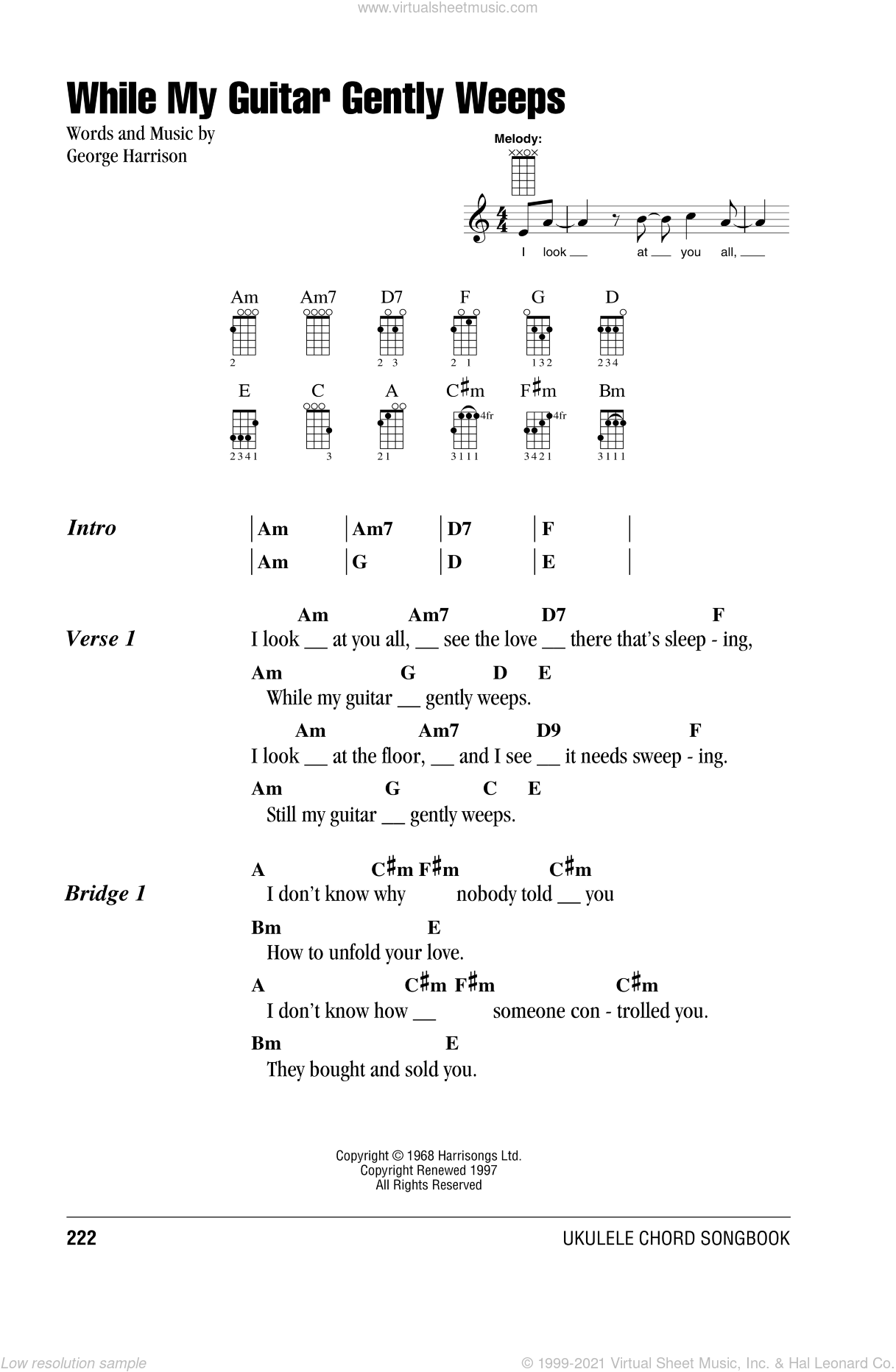While My Guitar Gently Weeps sheet music for ukulele (chords) by George Harrison and The Beatles. Score Image Preview.