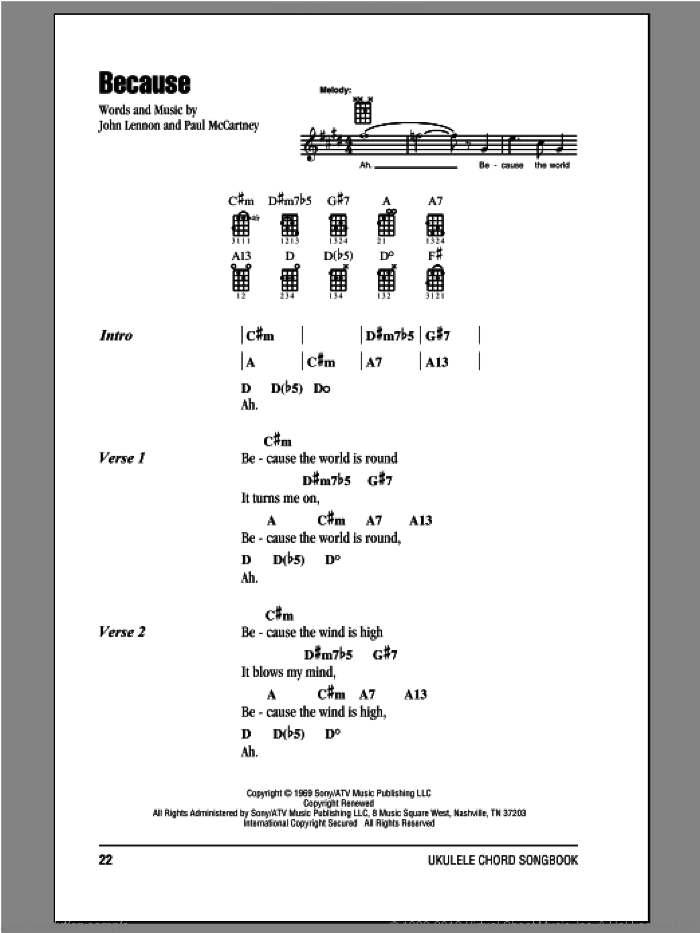 Because sheet music for ukulele (chords) by Paul McCartney, John Lennon and The Beatles. Score Image Preview.