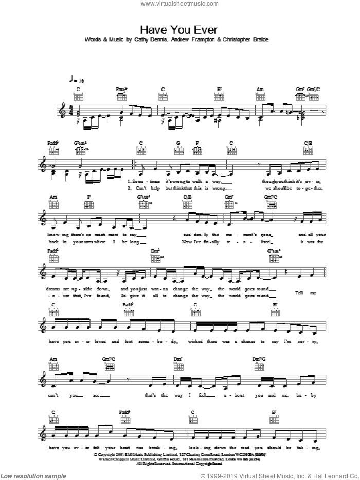 Have You Ever sheet music for voice and other instruments (fake book) by S Club 7, Andrew Frampton, Cathy Dennis and Chris Braide. Score Image Preview.