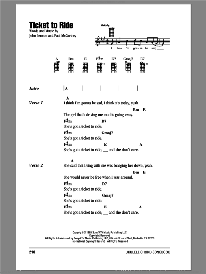 Ticket To Ride sheet music for ukulele (chords) by Paul McCartney, John Lennon and The Beatles. Score Image Preview.