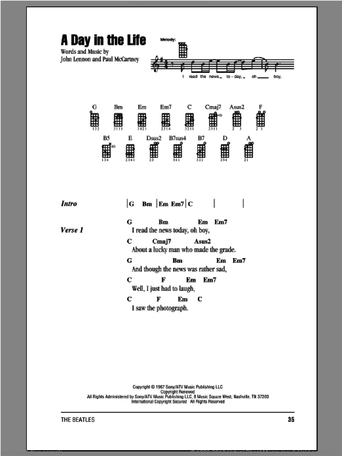 A Day In The Life sheet music for ukulele (chords) by The Beatles, John Lennon and Paul McCartney, intermediate skill level