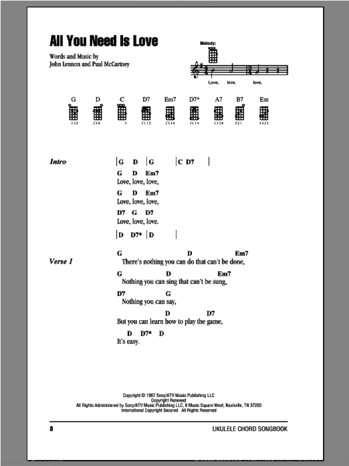 All You Need Is Love sheet music for ukulele (chords) by The Beatles, John Lennon and Paul McCartney, intermediate. Score Image Preview.