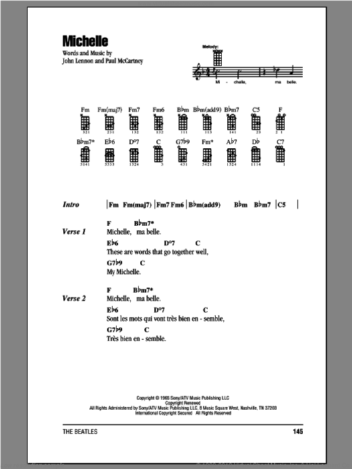 Michelle sheet music for ukulele (chords) by The Beatles, John Lennon and Paul McCartney, intermediate ukulele (chords). Score Image Preview.