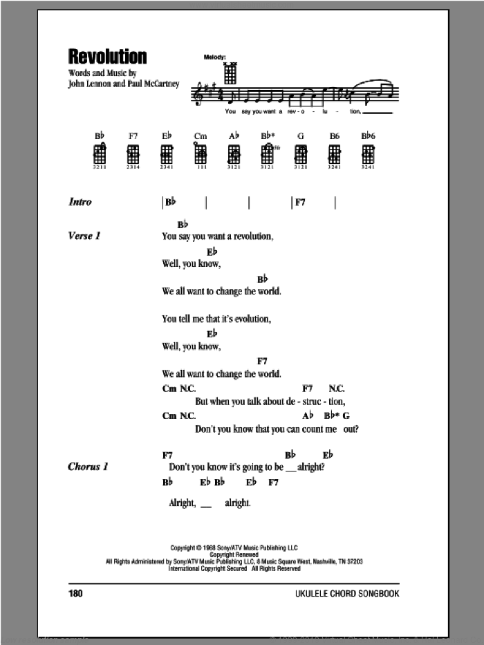 Revolution sheet music for ukulele (chords) by The Beatles, John Lennon and Paul McCartney. Score Image Preview.