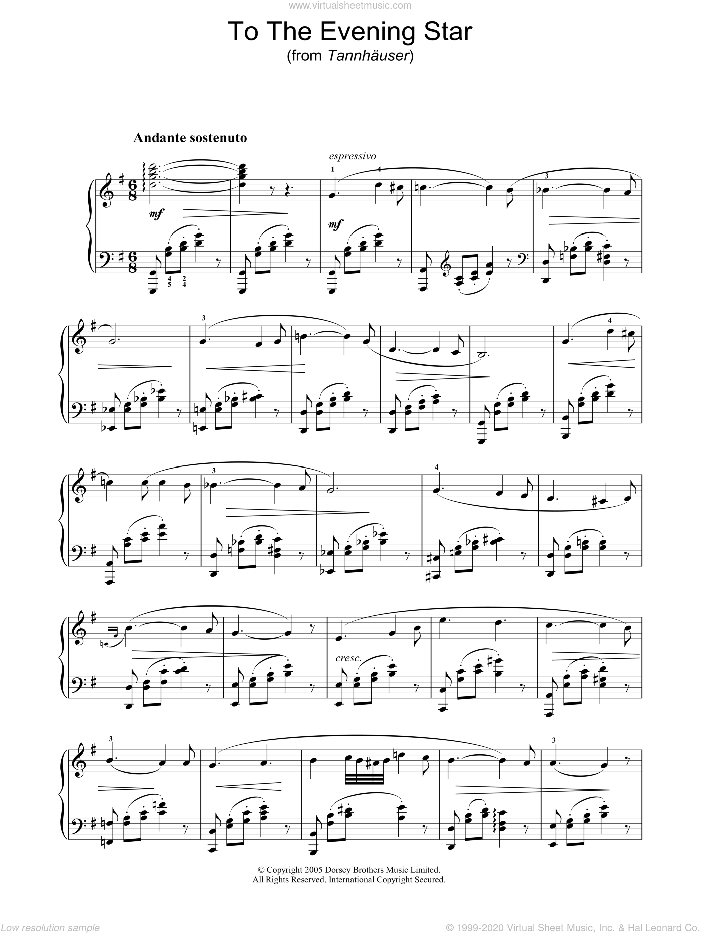 To The Evening Star (from Tannhauser) sheet music for piano solo by Richard Wagner, classical score, intermediate skill level
