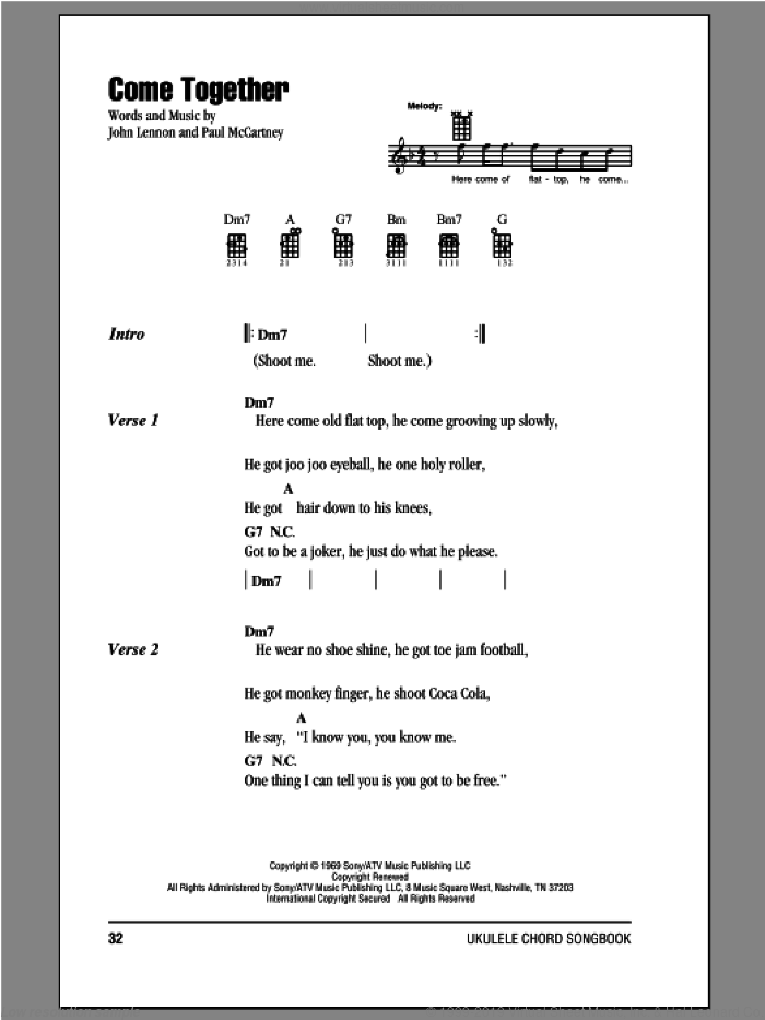 Come Together sheet music for ukulele (chords) by Paul McCartney